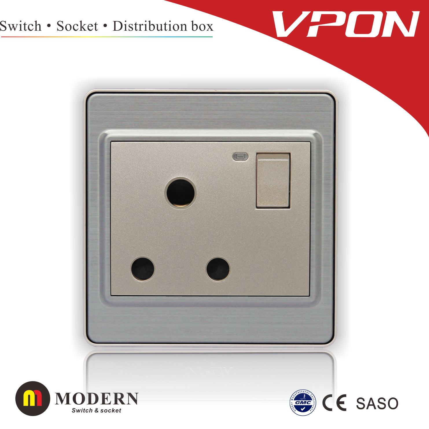 15A 3 round pin socket switch