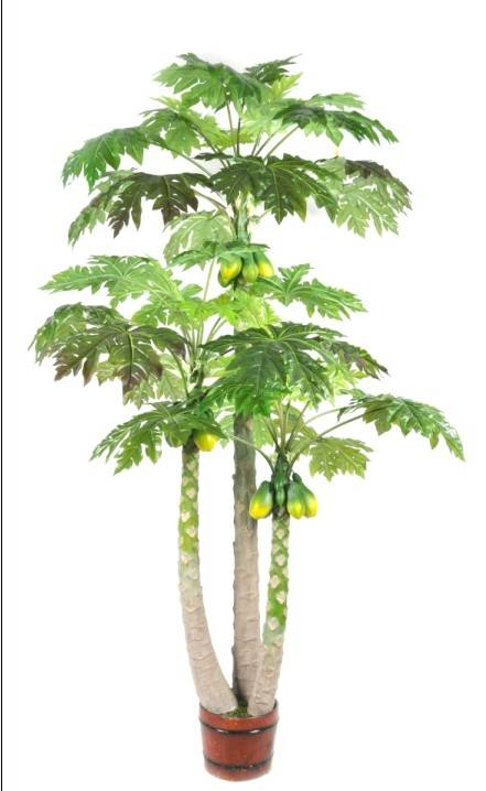 Sleek Realistic factory direct artificial 3 trunk papaya tree fake pawpaw tree plant artificial tree