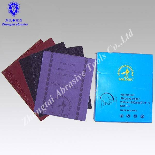 Electro coated aluminum oxide sand cloth sheet with package