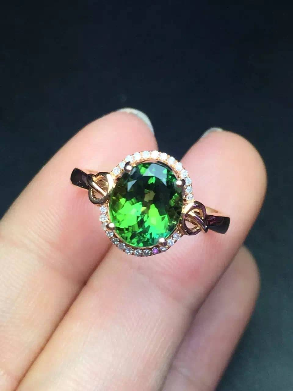 Natural Tourmaline Ring in 18k gold inlaid with diamonds