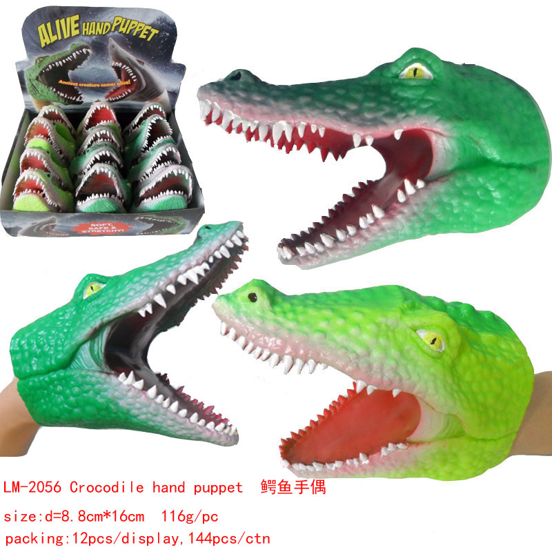 funny TPR crocodile hand puppet toy