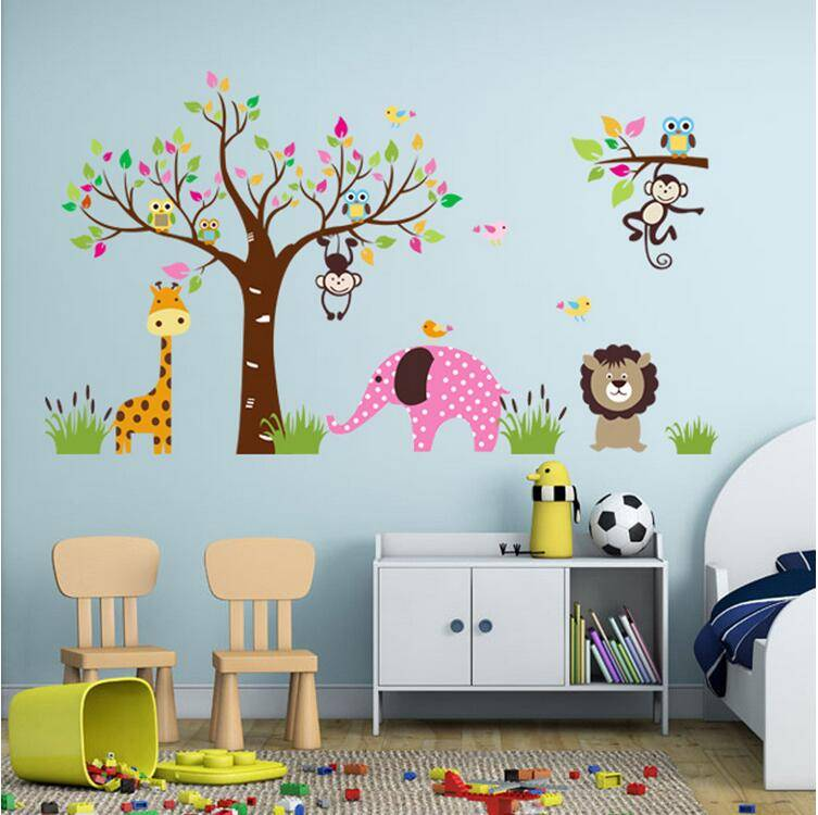 Wholesale Wall Stickers Home Decor Owl on Tree Carton PVC Wall Stickers for Kids Rooms Home Decor