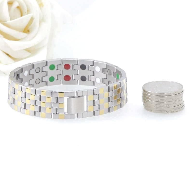 Square Gold Titanium Metal Bio Energy Element Fashion Bracelet 2016