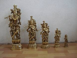 Religious Metal Brass God Krishna Sculpture