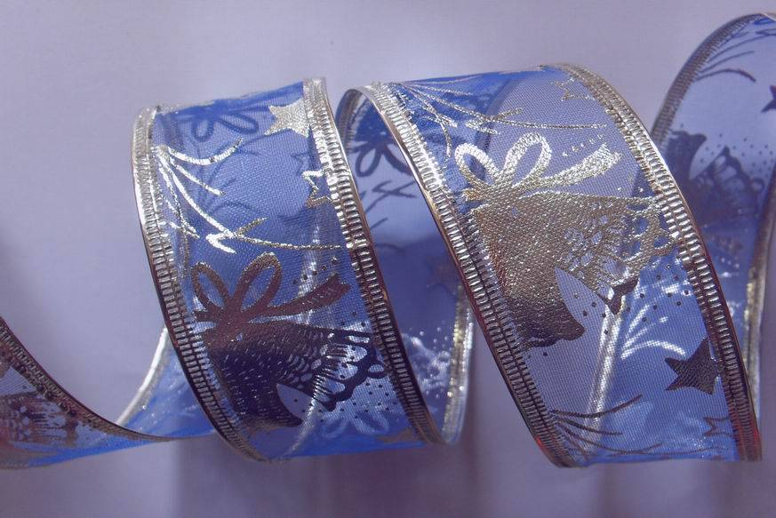 blue organza with silver bells fabric, sonic pressing silver wire edge
