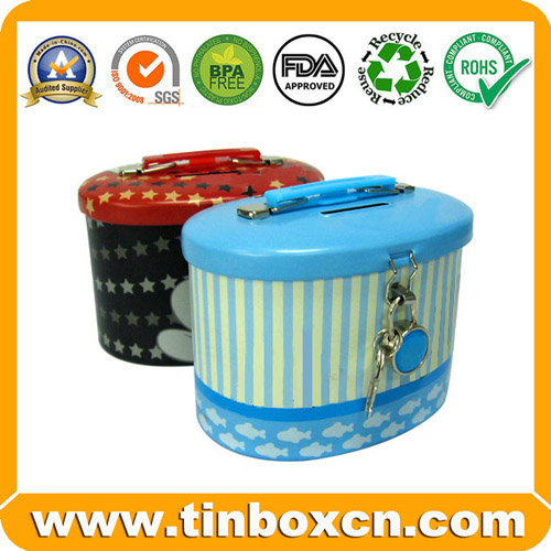 Saving Tin Box,Tin Saving Box,Tin Coin Bank,Money Box with Lock