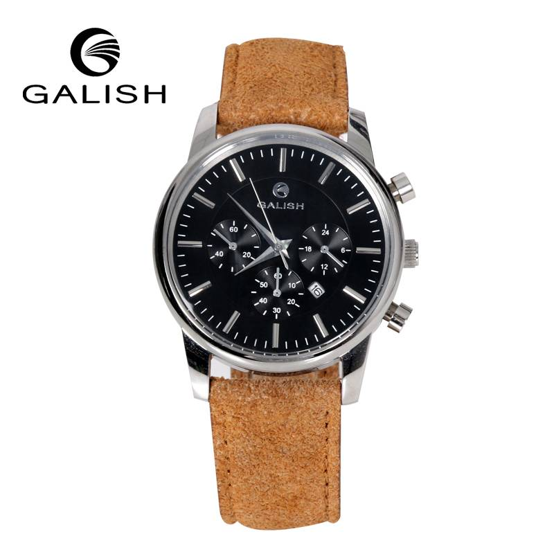 suede strap stainless steel watch for men