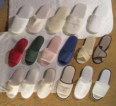 hotel linen--terry & waffle & velvet & velour slippers