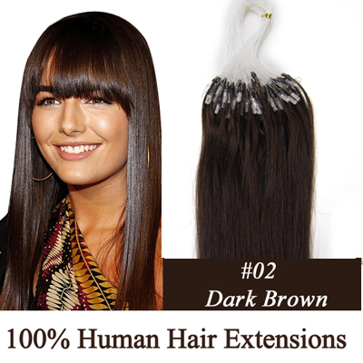 "100S 24"" DARKEST BROWN(#02) 0.7G/1.0G/1.4G MICRO LOOP REMY HUMAN HAIR EXTENSIONS"