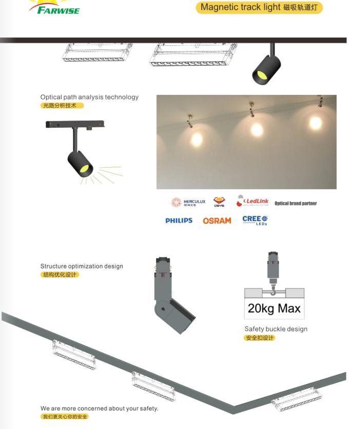 Portable wifi ceiling motorized 30 watt led track lighting