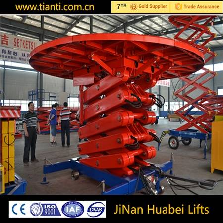 Fixed hydraulic scissor lift stage