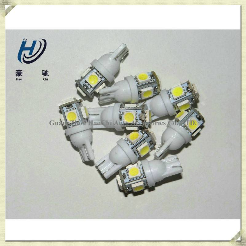 guangzhou manufacturer white yellow red bule pink w5w 5smd 5050 smd canbus t10 led