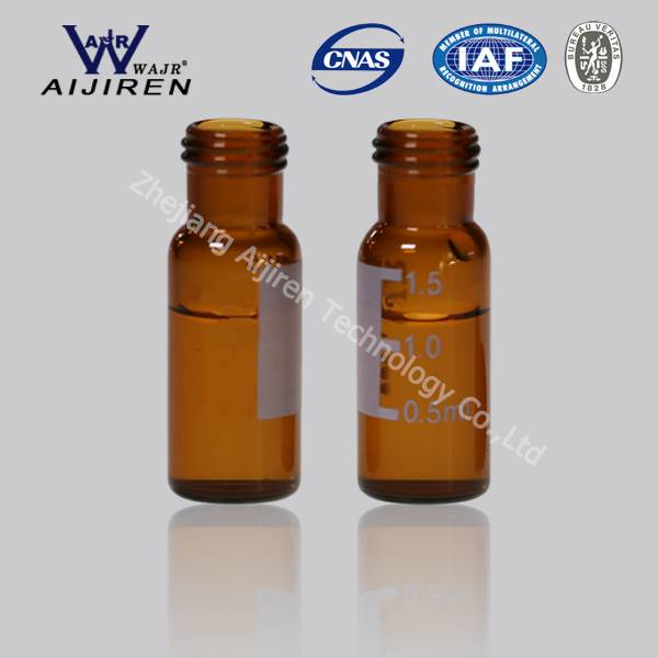 V945 1.5mL wide opening short screw-thread vial with write-on spot 9mm thread amber glass Vials