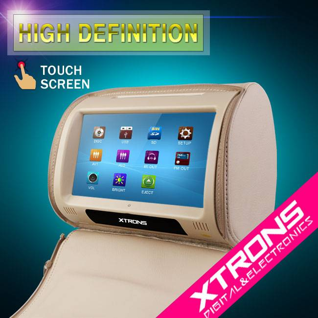 "Xtrons-HD908T-9"" Car DVD Headrest player/Touch screen car headrest media player with HDMI"