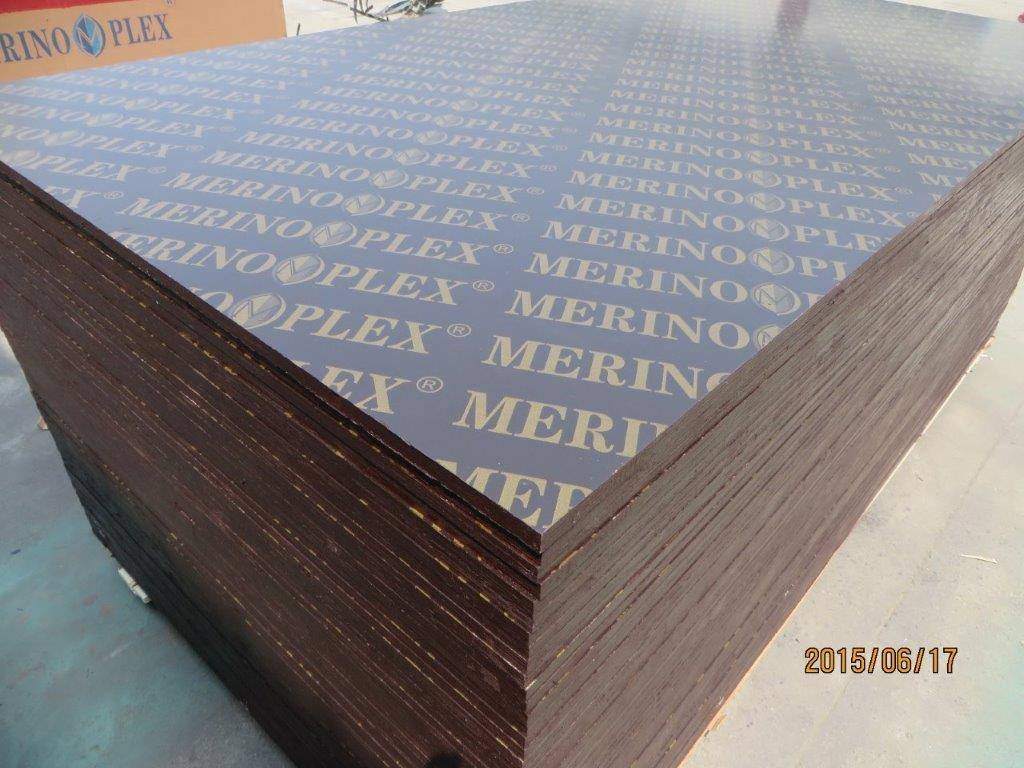 'MERINOPLEX' BRAND FILM FACED PLYWOOD, 'MR' GLUE, POPLAR CORE, BROWN PRINTED FILM