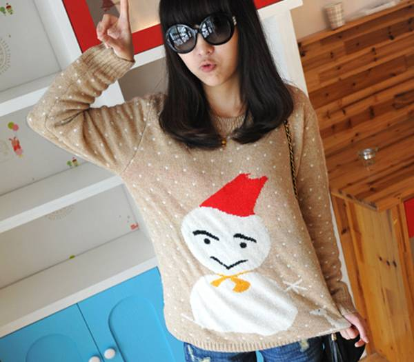 12STC0758 white dotted girls christmas knitting sweater