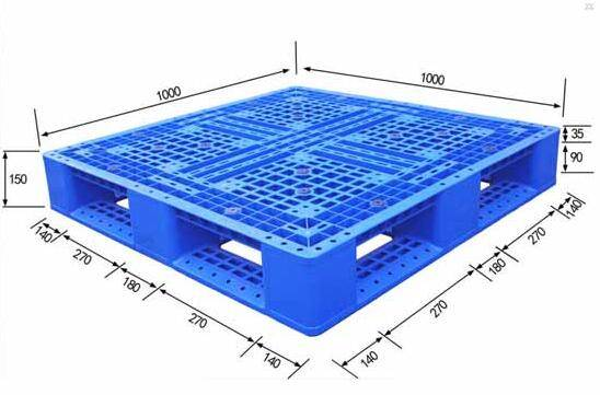 Single sided perforated plastic pallet with cross bottom 1000X1000X150mm
