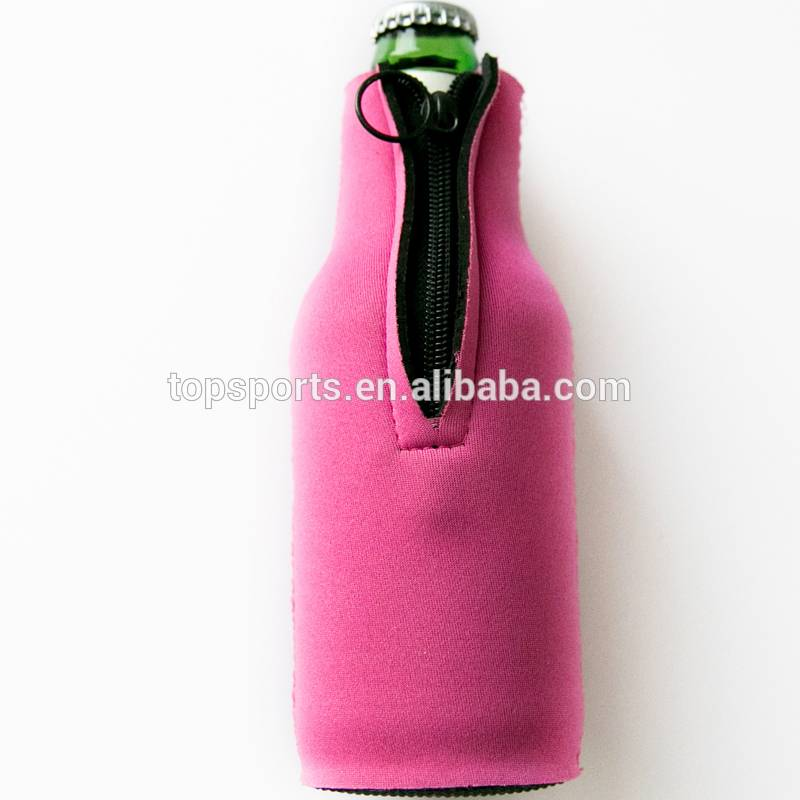High quality neoprene beer bottle holder with zipper
