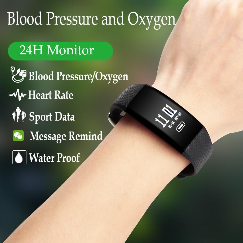 Smart Bluetooth Bracelet Blood Pressure Heart Rate Blood Oxygen Monitor Wristband Call Reminder