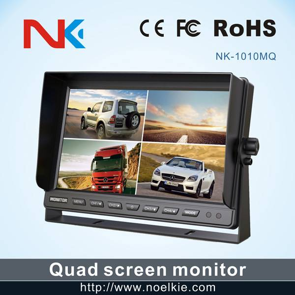 10.1 inch U bracket car lcd monitor with 4 video input,1 way audio output
