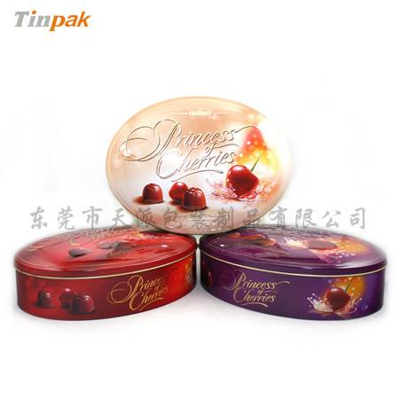 hot sale beautiful embossed oval cookie tin box