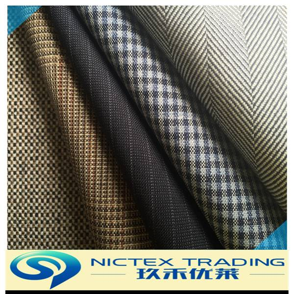 china supplier herringbone HBT tartan check stripe mixed polyester wool men suiting fabric