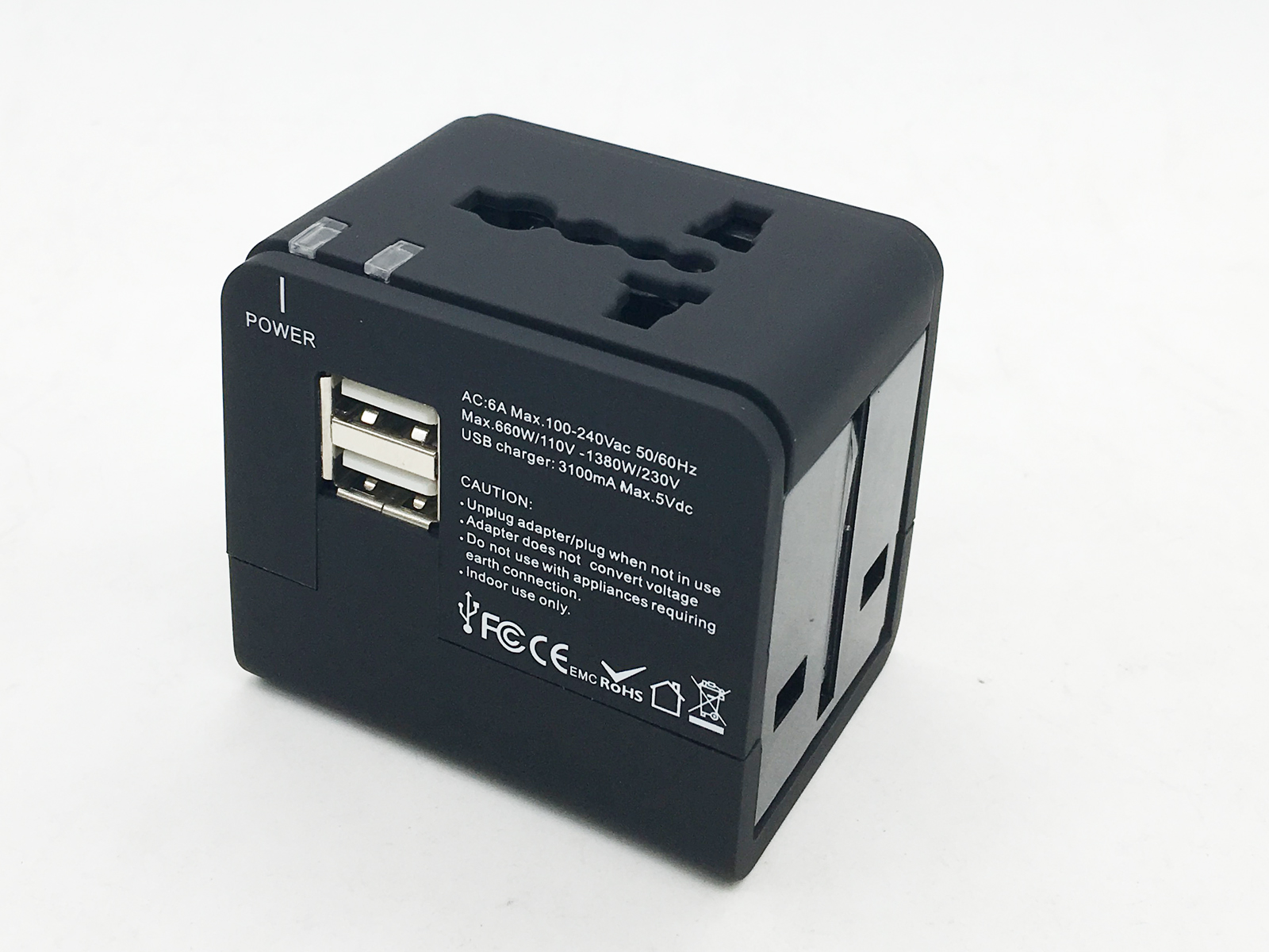 Universal Travel Adaptor with One or Dual Charger