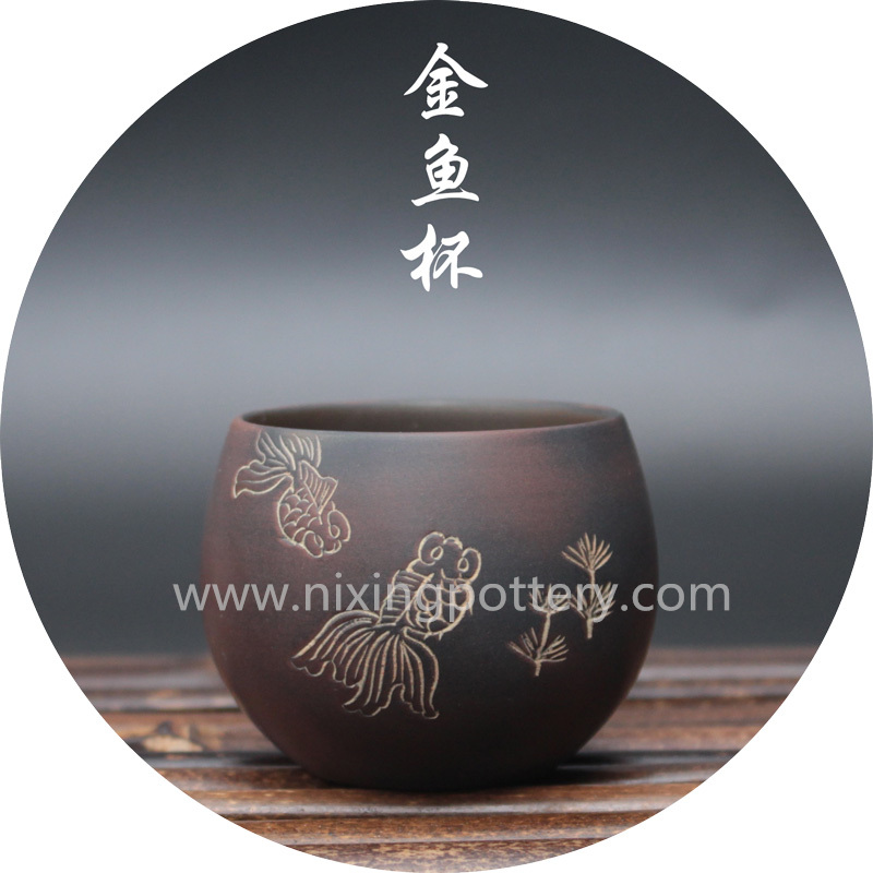 Chinese Qinzhou Nixing Pottery Handmade Tea Cup Goldfish Cup Kungfu Tea Large Tea Cup