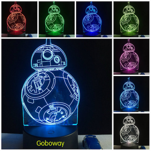 Star wars Force Awaken BB-8 Droid 3D Night 7 color changing touch switch LED desk table light lamp
