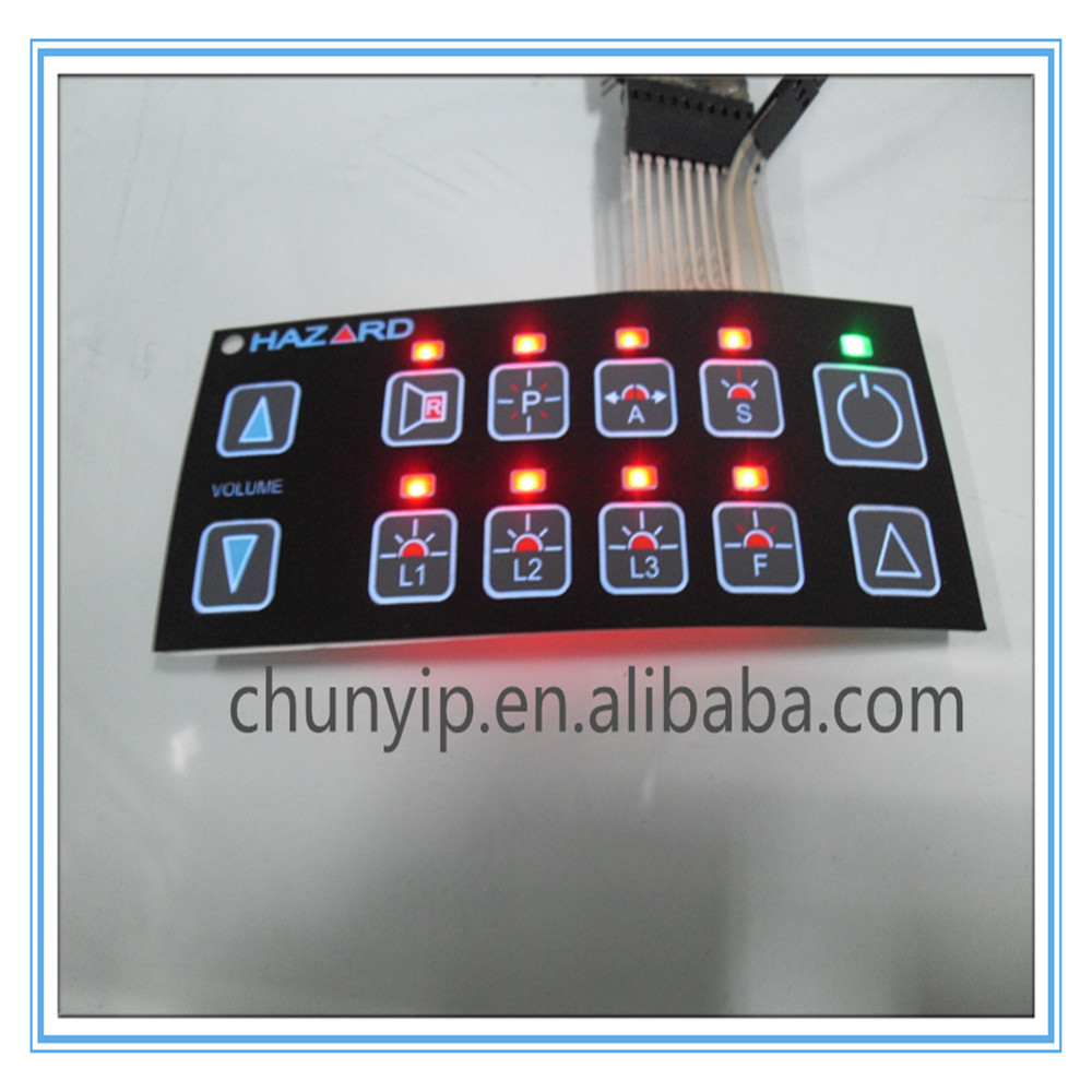 LED backlighting membrane switch panel for industrial