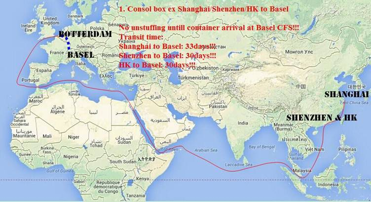 freight from Shanghai to Basel