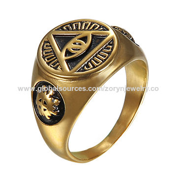 Stainless Steel Ring with Gold Pattern