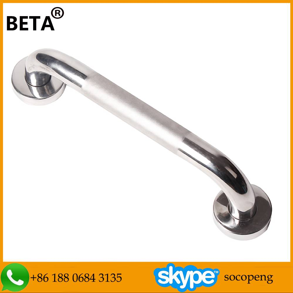 Reinforced and strengthen bathroom handicap stainless steel grab bar with knurling