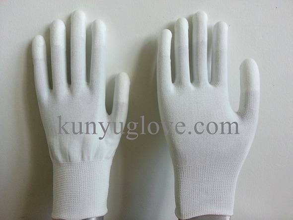 13 Guage white nylon liner with white pu fingertip coating gloves
