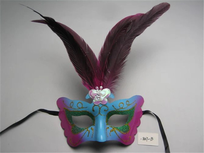 Venetian Christmas Masquerade Butterfly Half Face Party Mask With Feather