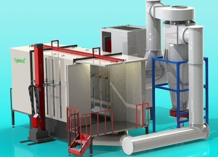 Magic color change powder coating booth