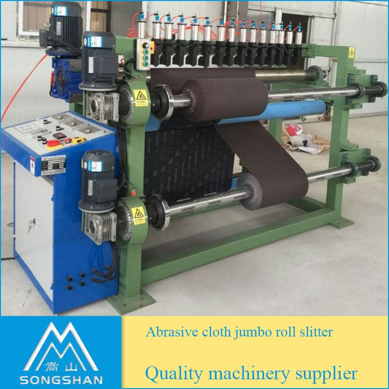 Abrasive cloth jumbo roll slitting machine