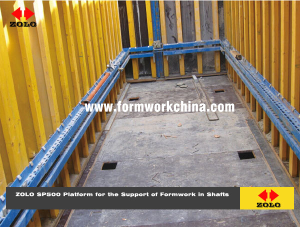 Zolo Platform for the Support of Formwork in Shafts