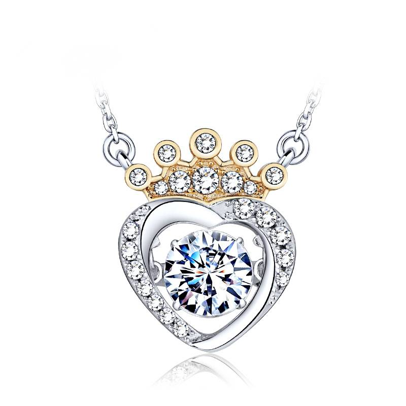 The queen of heart pendant 925 silver necklace for women