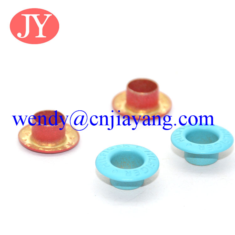 colorful metal eyelet with engraved logo for clothes