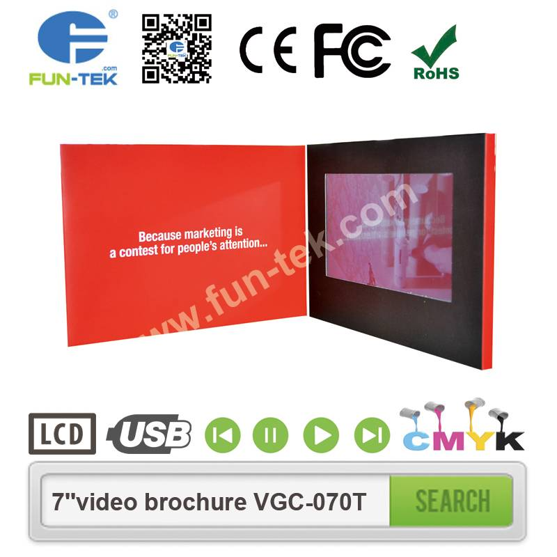 High Impact 7 inch Video Print Brochure with Full HD 1080p Touch Screen 2GB Flash VGC-070T