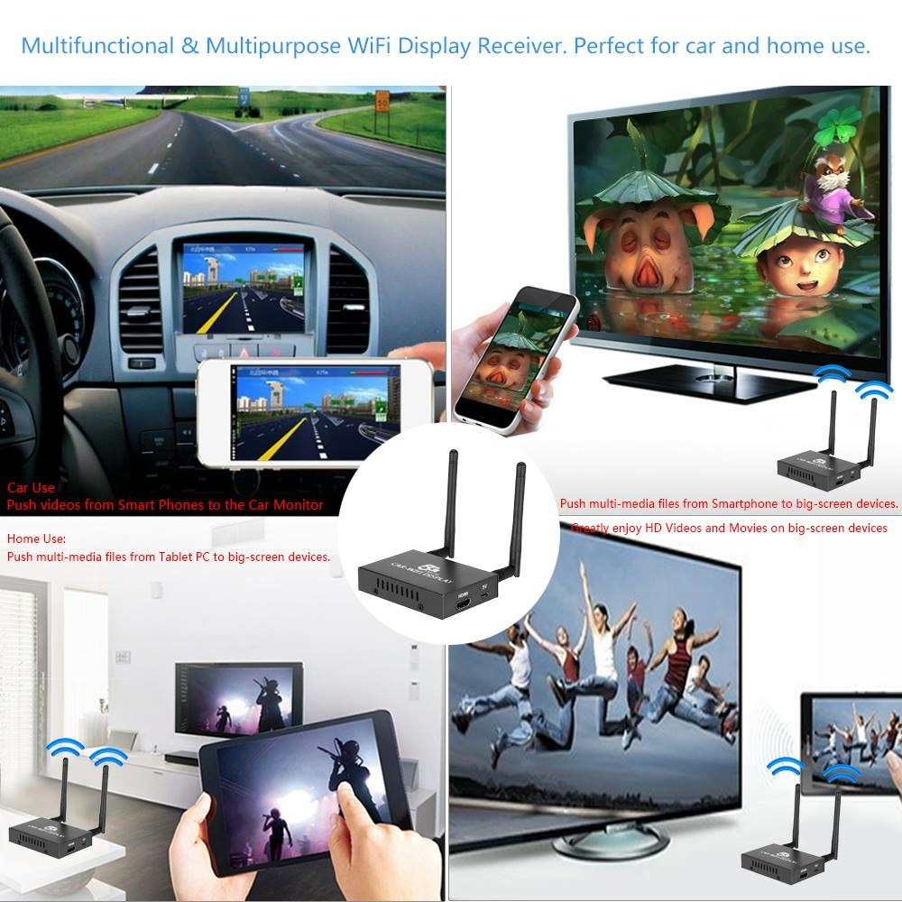 airplay miracast dlna car wifi mirror box support ios android