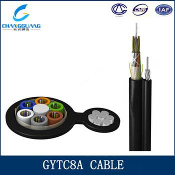 Self supporting aerial loose tube stranded armored steel as central strength member fiber optic cabl