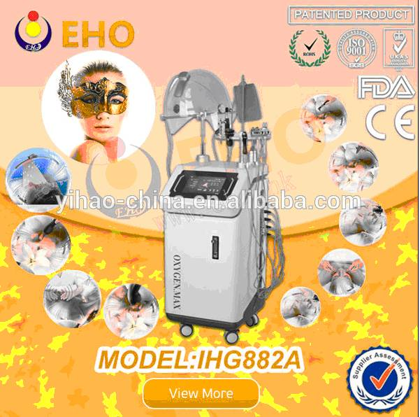 Easy use IHG882A oxygen jet with led 9 in 1 functions for home and salon bipolar RF facial beauty eq