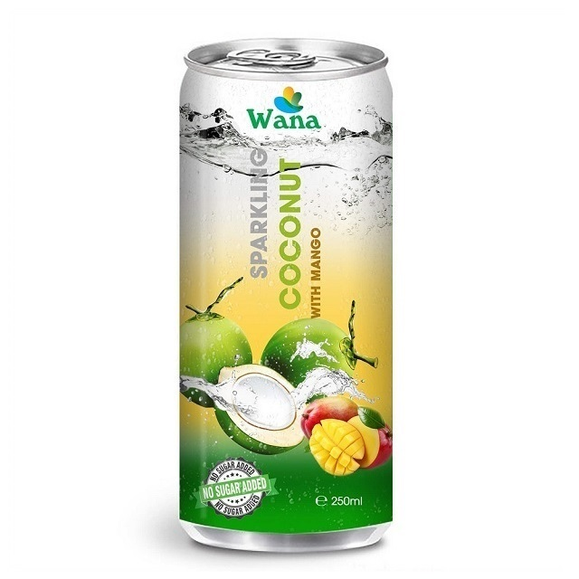 Sparkling Coconut Water With Mango Flavor in 250ml Can