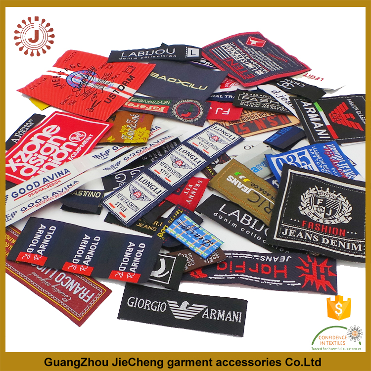 factory fashion Customized sewing labels Shirt Bags garment label tag Woven Labels for clothes