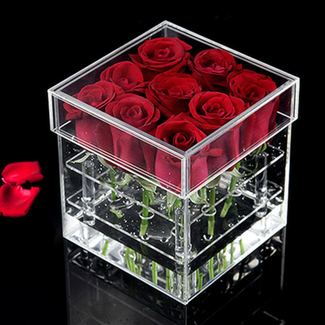 Kingsign factory clear acrylic flower display rose box with lid