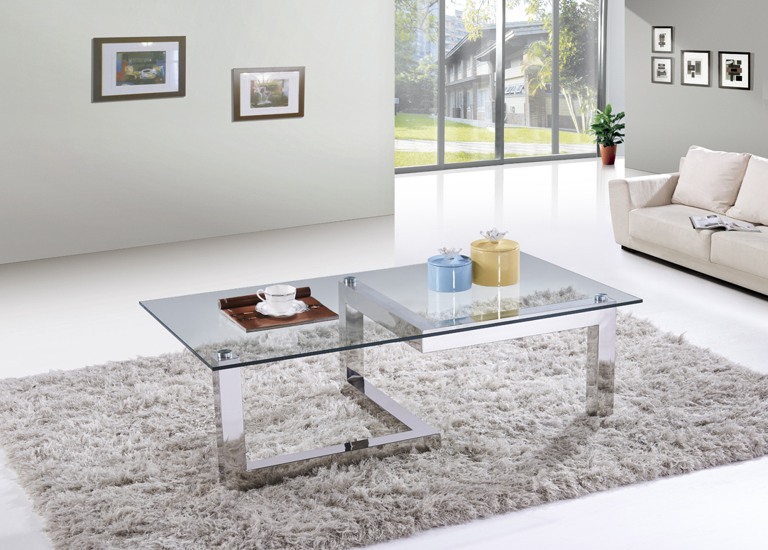 SHIMING MS-3351 Tempered clear glass square top coffee table with polish finish stainless steel foot