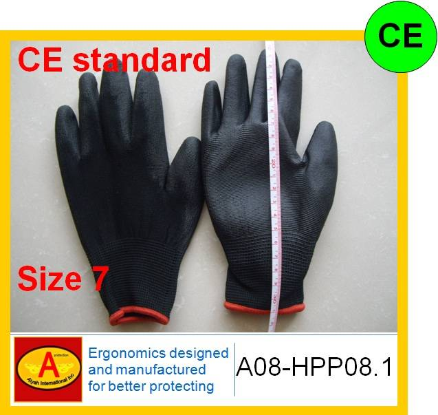 Cheaper glove Garden glove pu glove polyster liner pu coated glove safety glove work glove CE standa