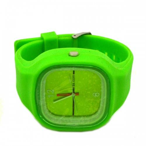 Silicone Square Dial Unisex Sports Wristwatch Fruit Color Series (Green)